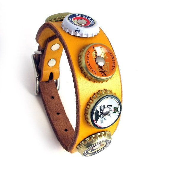 EcoLeather Dog Collar, German Beer Bottle Caps on Bright Yellow Reclaimed Leather, Size XS/S, 9-12in Neck, OOAK