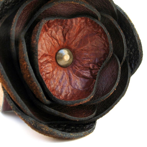 Leather Cuff Bracelet with Burnt Chocolate Brown Flower, Eco-Friendly, Women, Teen Girl, Corsage, OOAK, by Greenbelts