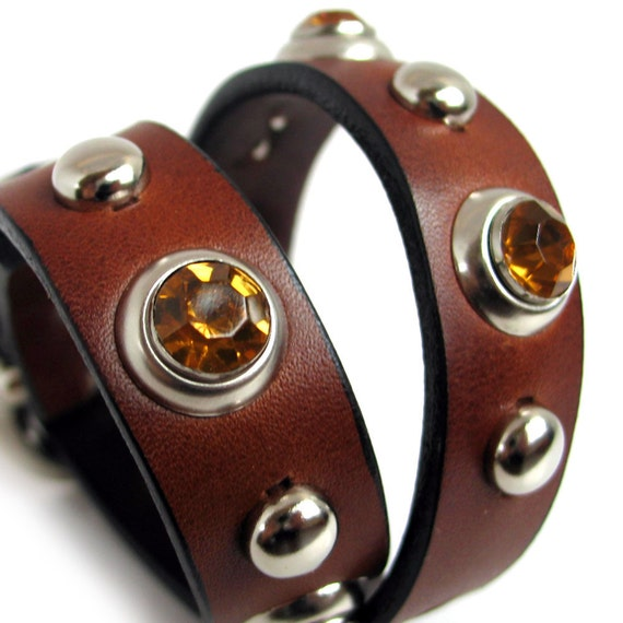EcoFriendly Leather Dog Collar, Chocolate Brown Leather with Amber Crystals,  Size S/M, Small to Medium Dog, 12-15in Neck, OOAK