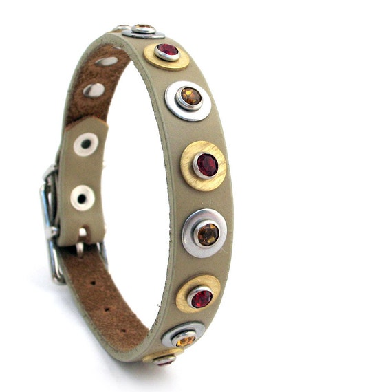 Silver and Gold, Red and Amber, Taupe Leather Dog Collar, EcoFriendly, Size XS, Extra Small Dog, 7-9in Neck, OOAK