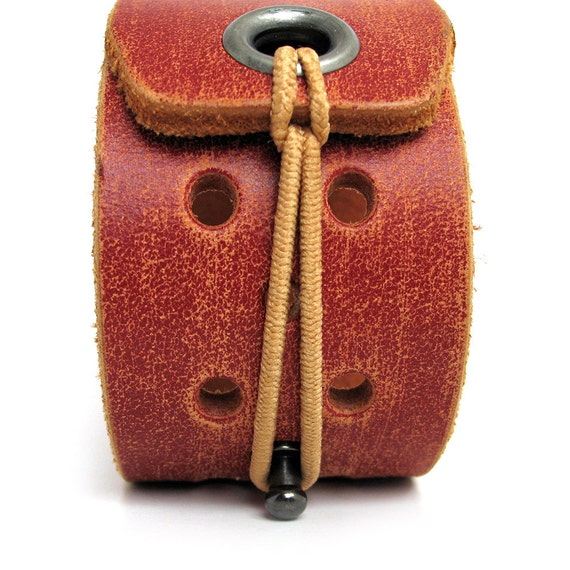 EcoFriendly Leather Cuff Bracelet in Rustic Red with Elastic Closure, Women, by Greenbelts in Seattle