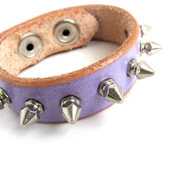 Lavender Leather Cuff Bracelet with Petite Silver Spikes, EcoFriendly, Unique, OOAK