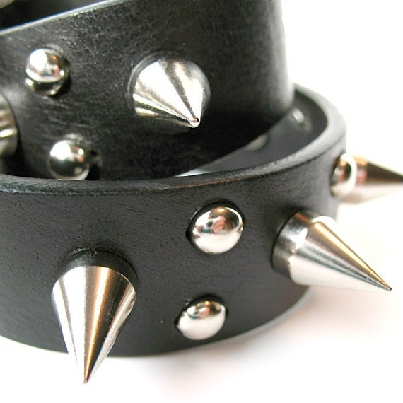 Dog Collar or Human Choker- Size S - Tough Guy Spiked Black Leather