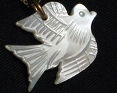 Peace Dove Vintage Necklace Carved MOP Love Joy Pendant Mother of Pearl Mid Century 1960s 1970s Chain Unique Spiritual Jesus