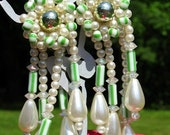 Pearls Vintage Wedding Earrings Hollywood Shoulder Duster BurLesque Long Beaded Bicones Teardrops Striped Lime Glass Hollywood