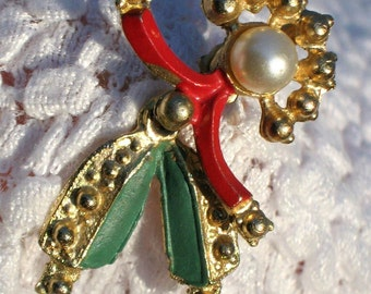Rare Estate Antique Court Jester Clown Vintage Brooch Pin Modernist Olde Articulated Moveable Mid Century Red Green Pearl Figural Unusual