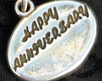 Happy Anniversary Vintage Inscribed Sterling Pendant Charm Solid Signed Gift Heavy Weight Supply Art Jewelry Love Marriage Hallmark SJC