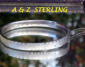 Fine 925 Vintage Sterling Bracelet Bangle Diamond Cut Signed A & Z 925 Hinged Cuff Safety Chain 60's 1968 12-25-68 C L D 13 grams Christmas