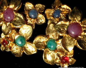 Mod Bloomers Vintage Earrings Bold Flowers Jeweled Cabochons Statement Couture Avon Clusters Lucite Purple Green Blue Red Gold Pierced