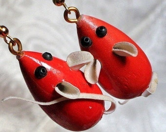 Vintage Mice Charms Red Lipstick Pendants Halloween Mid Century Critters Earrings Mouse Lot Cute Jewelry Making Supplies Pleather Tails