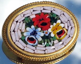 Estate Micro Mosaic ItaLy Vintage Brooch Pin Quality Jewelry Signed Antique FLower Ornate Red Blue Yellow White Elegant Designer Romantic