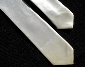 Wedding Vintage Thin Necktie Tie Narrow Ivory Silky Creamy White Formal Hollywood Cary Grant Dad Fathers Mid Century Mad Men Original 1950s