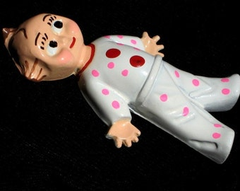 Rare Girl Doll Kewpie Vintage Cupie Brooch Baby Shower Pin Pink Antique Mid Century Enamel High Relief Polka Dot PJs Unique Mothers Gift Mom