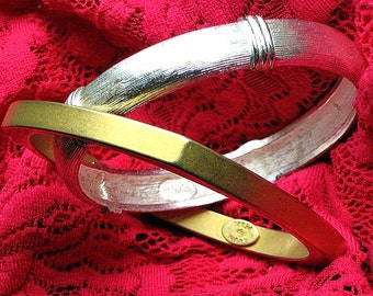 Costume Jewelry Vintage Bangles Set 2 Glam Silver Gold Haute Couture Signed Designers Erwin Pearl Napier Bold Mod Runway Hollywood Bracelets