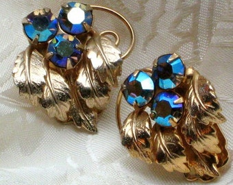 Estate Blues Jewelry Earrings Crystals AB Vintage Rhinestones Hollywood Purple Wedding Aurora Borealis Antique Bling Sparkle Marilyn 50s VLV