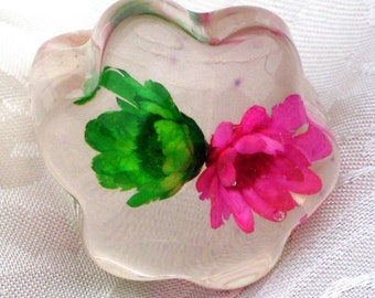 Flowers Vintage Bubble Ring Poured Lucite Finger Runway Bold VLV Statement High Relief Chunky Fuchsia Lime Green Size Sz 6 - 6.5 UK L - M
