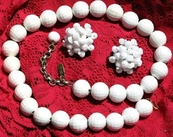Estate SaLe Vintage White Necklace Earrings Demi Parure Faceted Statement Mid Century 50's Mad Men Clustered Designer West Germany Wedding
