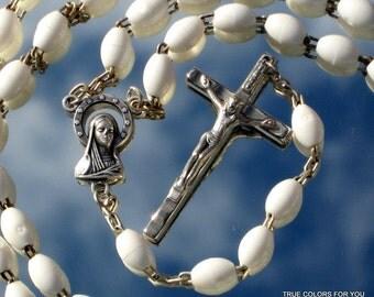 Rosary ItaLy Vintage White Catholic Crucifix Baptism Easter Communion Confirmation Wedding Jesus Spiritual Virgin Mary Mother Sacred Heart