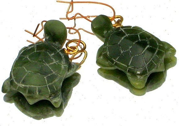 Jade TurtLes Earrings Vintage Carved Hand Dangle Charms Gold Filled Upcycled Cottage Chic Go Green Jade Pierced 60s 70s