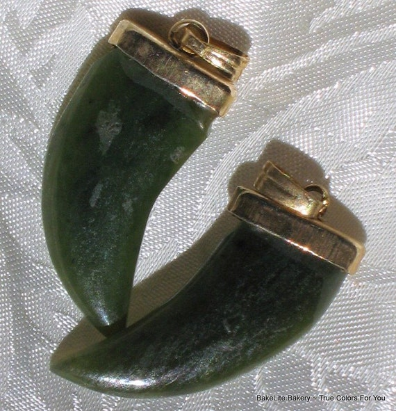Shark Teeth Italian Horn Jade Vintage Carved Charms LAST SET Pendants Jewelry Making Necklace Earrnings Lot 2 Green Lucky Horns