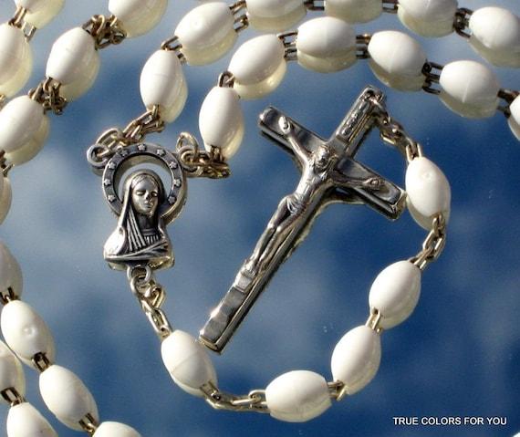 Rosary ItaLy Vintage White Italian Catholic Jesus Crucifix Chrismas Easter Communion Confirmation INRI Virgin Mary Mother Sacred Heart
