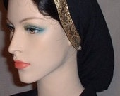 Black Peach Skin Jacquard Ribbon Band Snood Head Covering