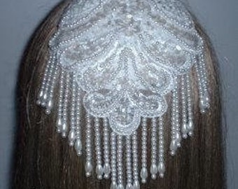Fancy White Pearl Sequin Applique Kippah Head Covering