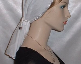 White ROUND CUT BATISTE Tichel Scarf Head Covering Veil - Colors Avaialble