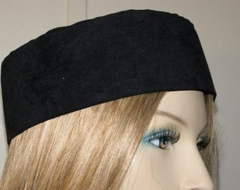 Head Covering Headcovering Hat Jewish Modest Yarmulke Kippa - BLACK SUEDE BUCHARI Kippah