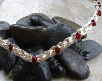 Celtic Renaissance Circlet Tiara with Garnet