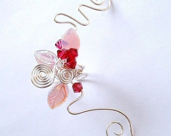 Pink Cherry Blossom Ear Cuff Ear Jacket Climber, No Piercing, Fairy Jewelry, Fantasy Vine Wrap, bridal ear cuff