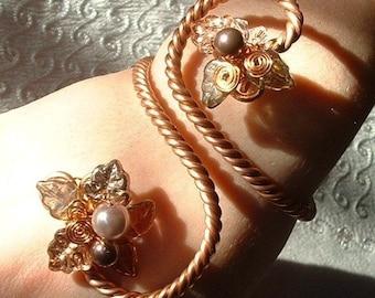 Art Nouveau Boho Wedding Arm Band Bracelet, Bridal Body Jewelry Arm Cuff