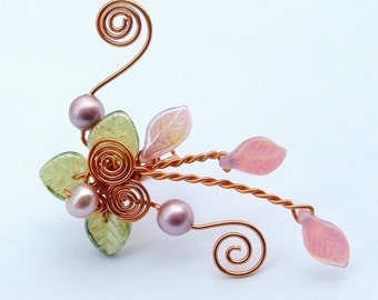 Victorian Spring Fairy Ear Cuff, No Piercing, Fairy Jewelry, Fantasy Vine Wrap, Pink and Green