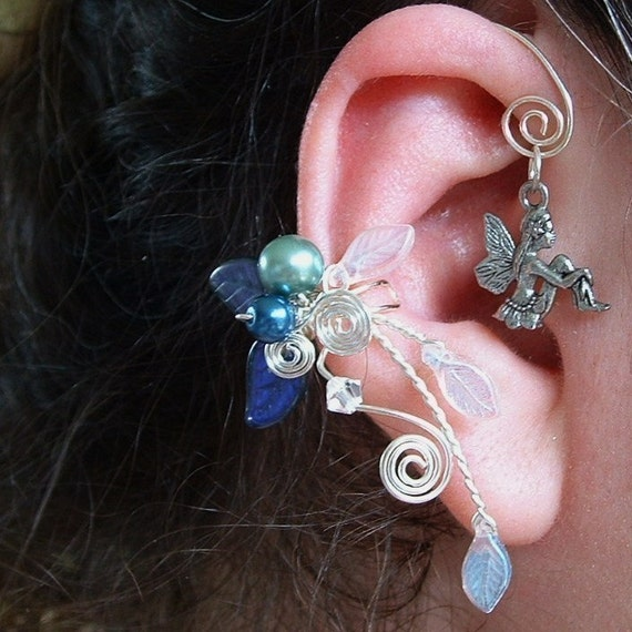 Fairy Bower Ear Cuff Earring PAIR Moonlight Blue