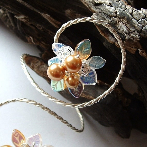 Fairy Lights Art Nouveau Arm Band Bracelet, Bridal Body Jewelry