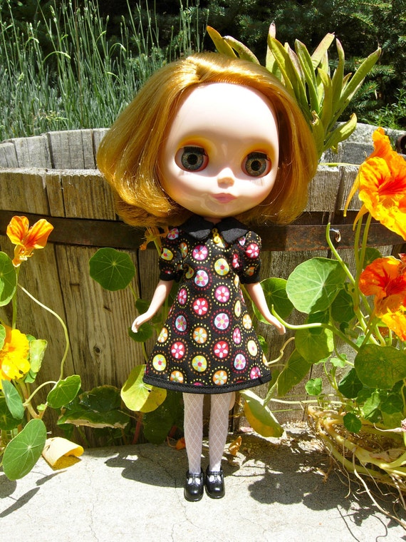 Blythe Dress - Black with Multicolored Circles