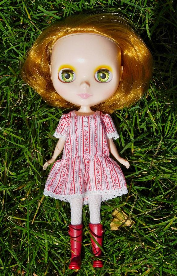 SALE - Drop Waist Blythe Dress - Red Flowers