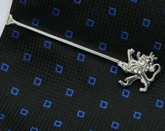 Lion Tie Bar Clip, Sterling Silver, Handcrafted