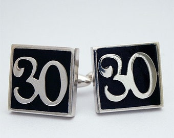 Custom Number Cufflinks, Personalized, Sterling Silver and Enamel, Handmade