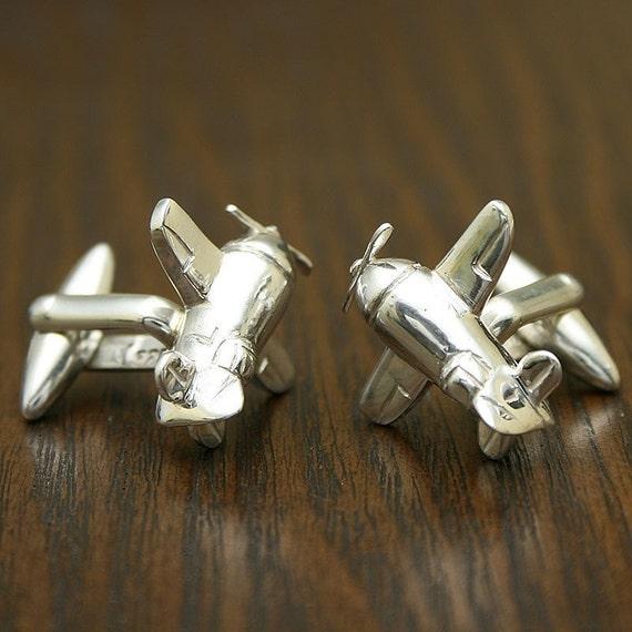 Handcrafted Airplane Cufflinks, Sterling Silver