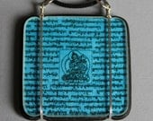 Turquoise Blue Tibetan Prayer Flag Pendant --- Art Glass Pendant
