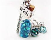 Wishing Star Necklaces- blue Necklace-Star necklace-Glitter Necklace-Wish Necklace-Bottle Necklace