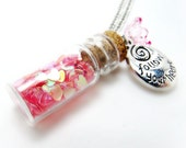 Jar of Hearts Necklace- Glitter Necklace-Bottle Necklace-Charm Necklace-Spring necklace-Flower Necklace-Bottle Jewelry