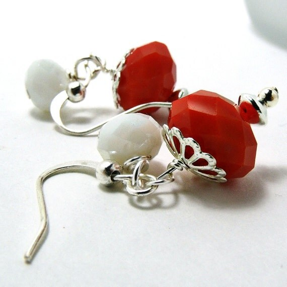Dangle Earrings-Tomato Red Earrings w/ Milk Glass-Czech Glass Earrings-Red Earrings-Red Jewelry-Holiday Red Jewelry-Red and White-