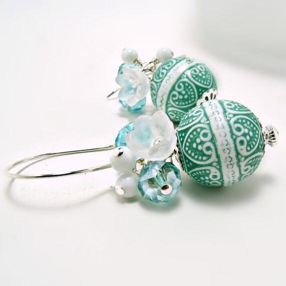 Shabby Chic Earrings-Aqua Earrings-Vintage Bead Earrings-Blue Earrings-Teal Earrings-Blue Jewelry-Czech Crystal Earrings