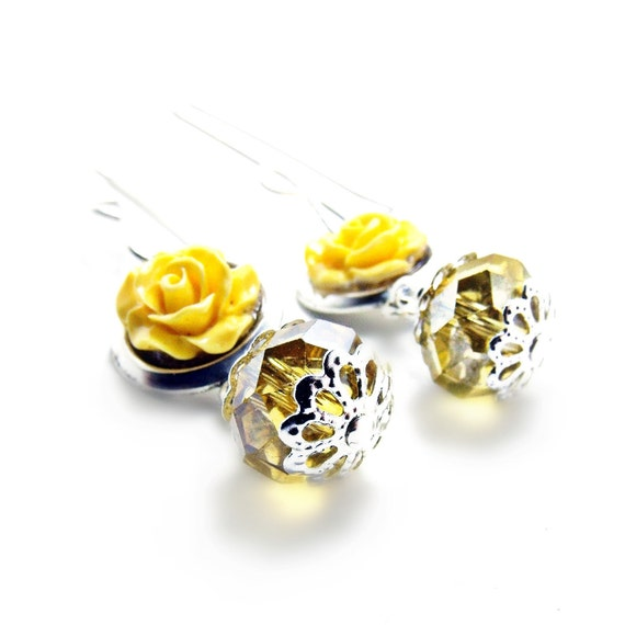 Yellow Rose Earrings w/ Czech Crystal- Yellow Jewelry- Flower Earrings- Flower Jewelry-  Crystal Jewelry- Valentines Day-Spring Jewlery