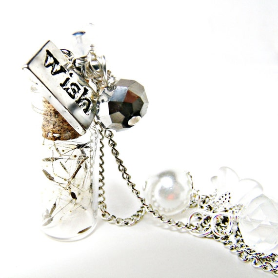 RESERVED  FOR RYAN  Dandelion Wish Bottle Necklace- White Necklace- Summer Necklace -Summer Jewelry- Floral  Jewelry- Bottle Jewelry-