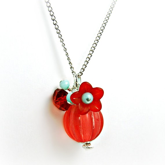 Red Lucite Pendant Necklace w/ Amazonite- Red Jewelry- Red and Aqua -Czech Crystal - Crystal jewelry- Flower Jewelry- Summer Jewelry
