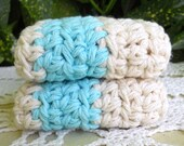 Aqua Striped Dishcloths