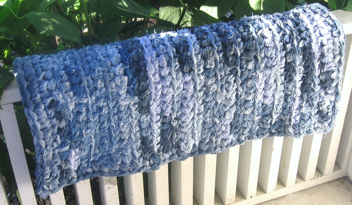 Crocheting Rag Rugs : Recycled Jeans Crochet Rag Rug by ThankfulRoseHome on Etsy